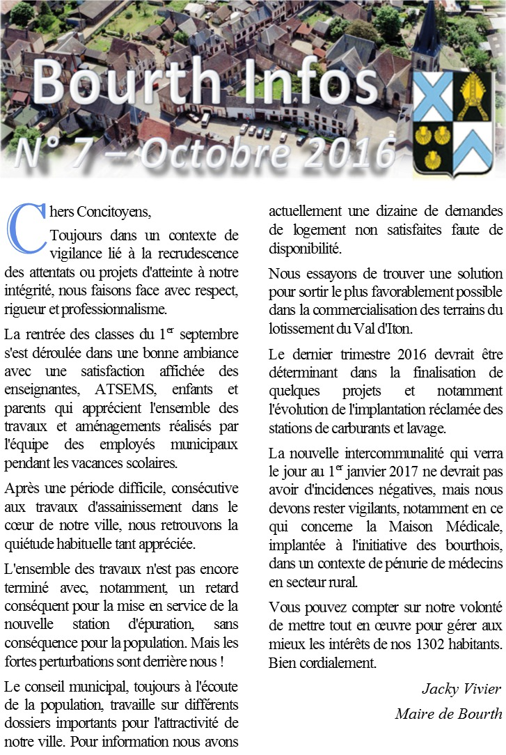 Couverture Bourth Infos n°7 - oct 16